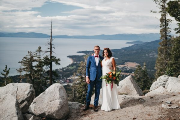 Heavenly Lake Tahoe wedding couple