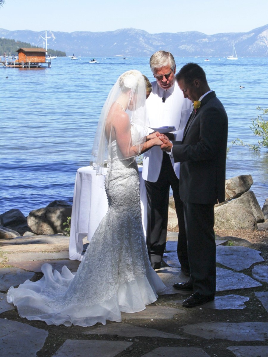 Reverend Mark Frady officiating Lake Tahoe wedding