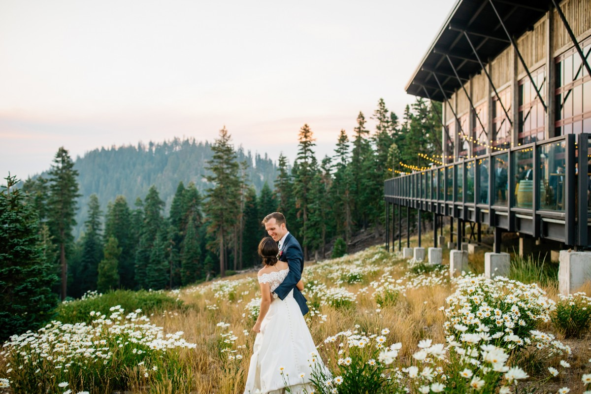 wedding couple outside Zephyr Lodge Northstar near Lake Tahoe