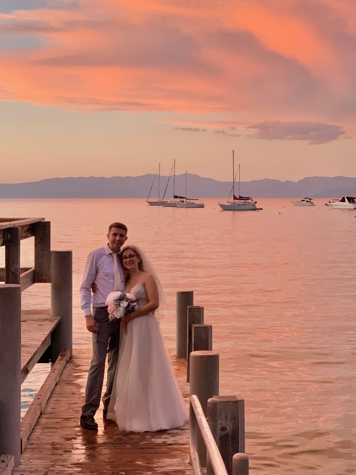 couple at sunset - Lake Tahoe wedding impacts from COVID-19