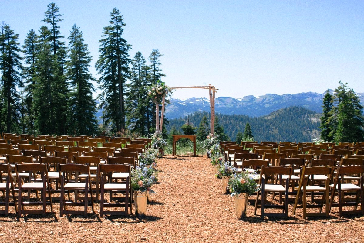wedding ceremony area on mountaintop at Northstar California