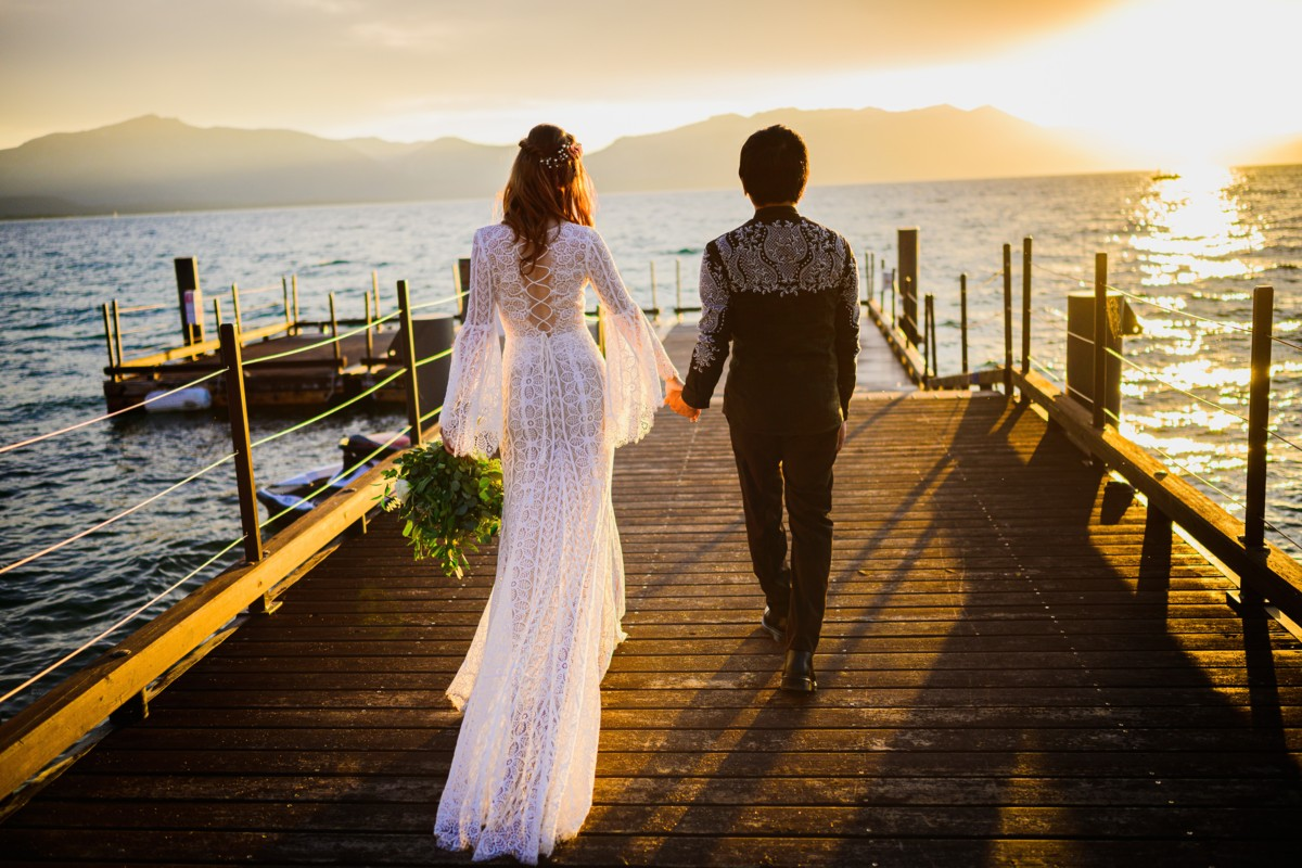 couple by Lake at Edgewood Tahoe - wedding impacted by COVID-19