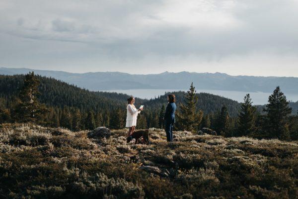 Couple eloping to mountains above Lake Tahoe