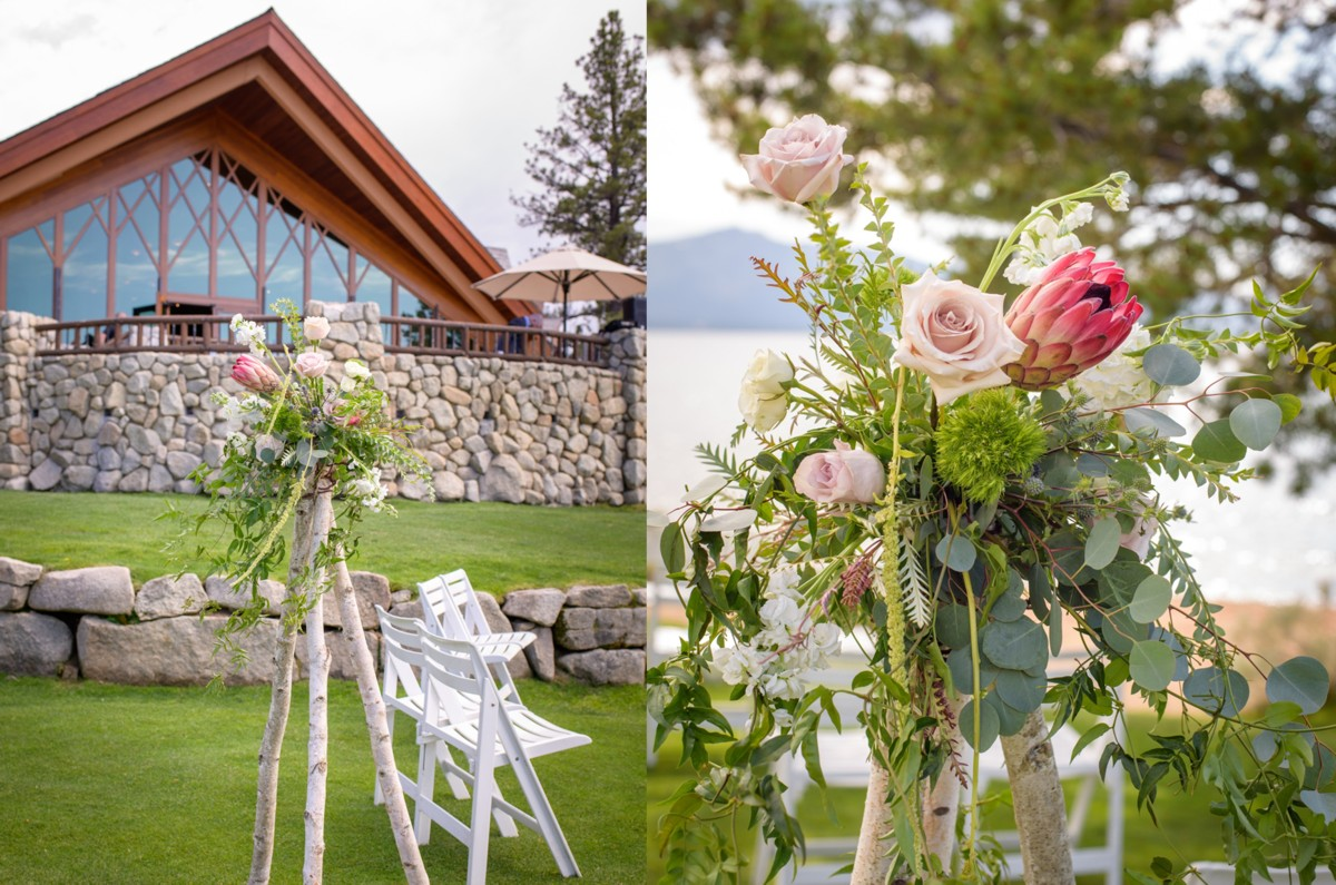 Edgewood Tahoe wedding - ceremony floral structures by Create with T - Blue Lotus Photography