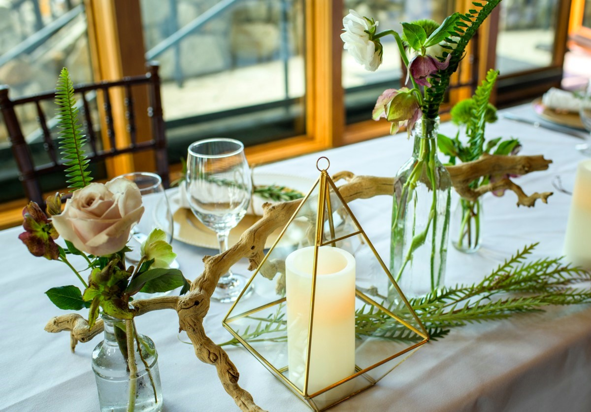 wedding at Edgewood Tahoe - table centerpiece by Create with T