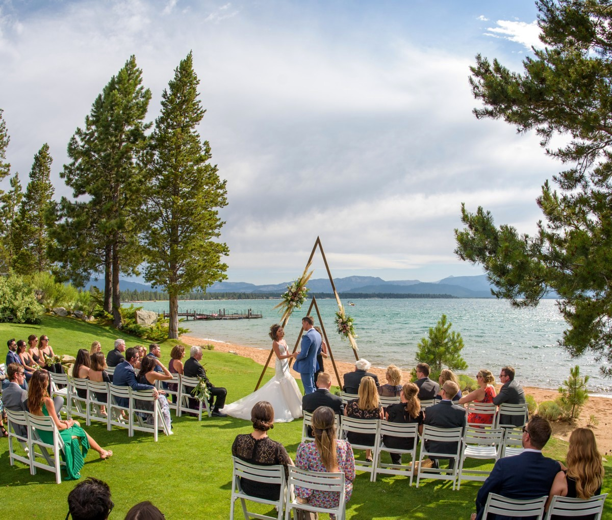 Edgewood Tahoe lakefront ceremony with social distancing