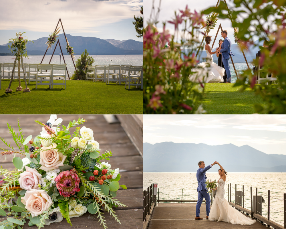 Lake Tahoe safe wedding at Edgewood - ceremony, bouquet and couple on pier