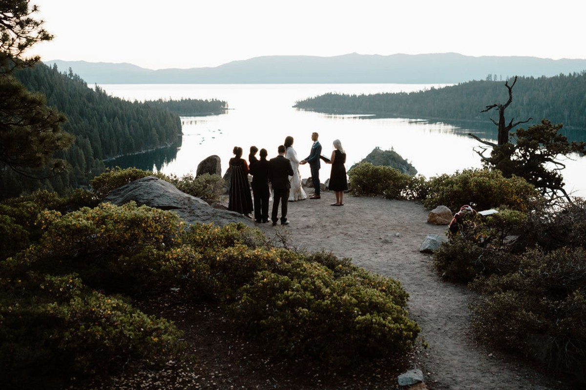 Lake Tahoe micro ceremony overlooking Emerald Bay