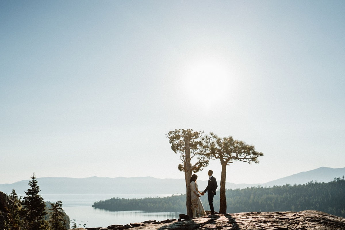 couple elopes to secluded location overlooking Lake Tahoe and Emerald Bay
