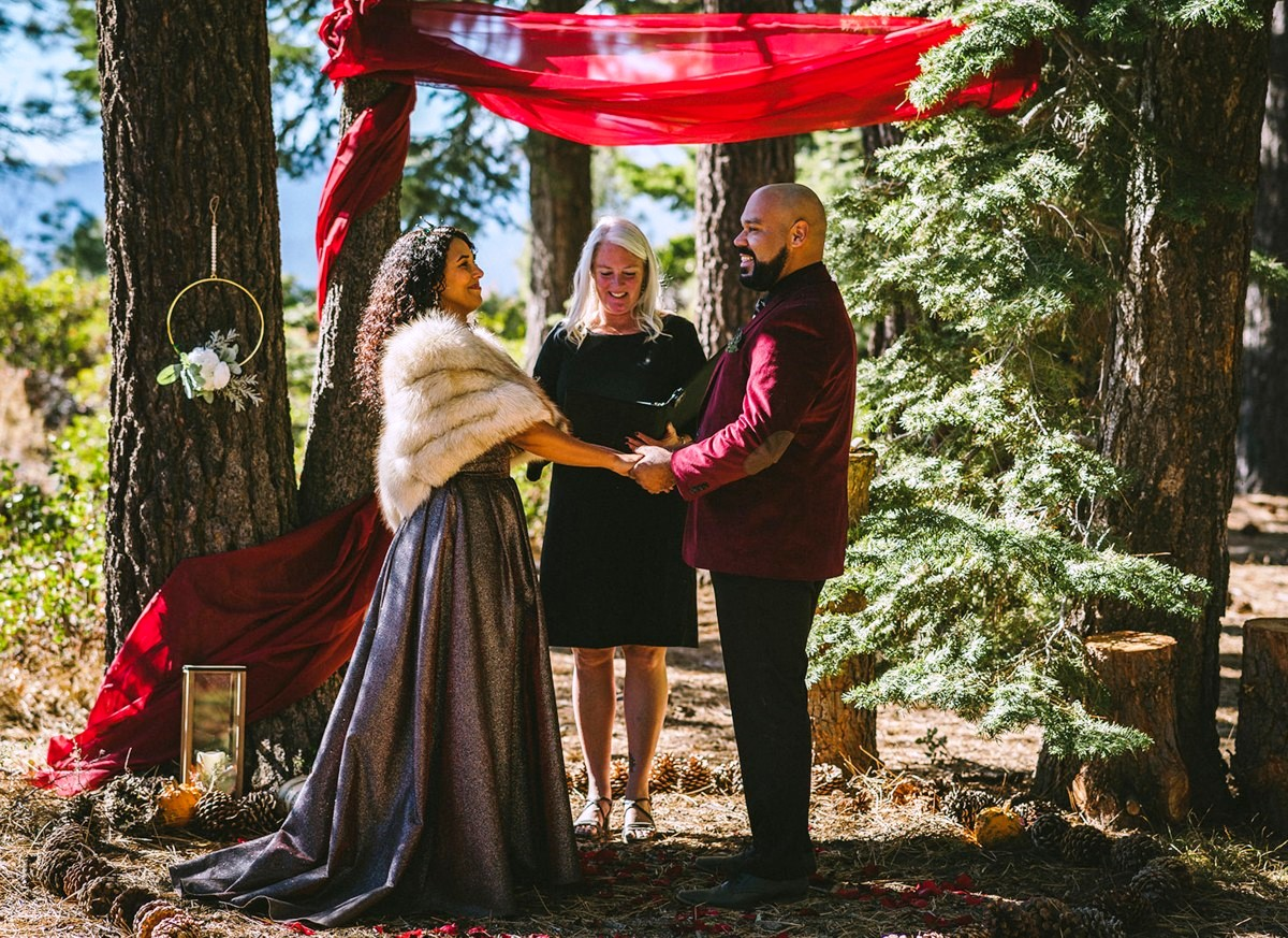 Christa Deane Mountain High Weddings officiating elopement in forest near Lake Tahoe